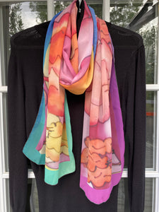 Vibrant Sundown (on pink-azure) MILA Designer Chiffon Scarf in 2 sizes
