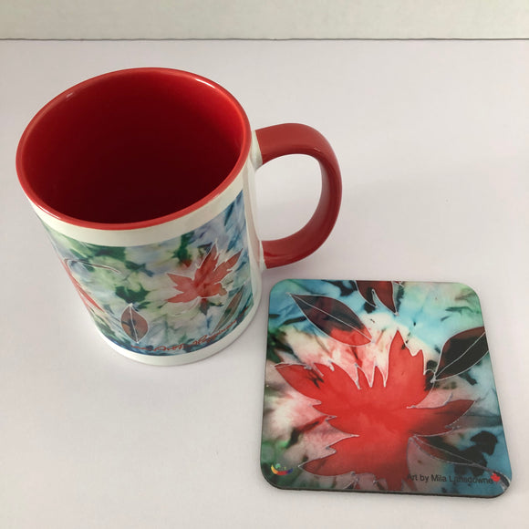 Image of In Love With Maple Leaves: Gift set - 11oz Mug and coaster