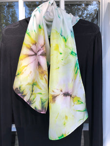"Yellow Blossoms 12""x60"": Hand-painted One of a kind 100% Silk MILA Lansdowne Scarf"