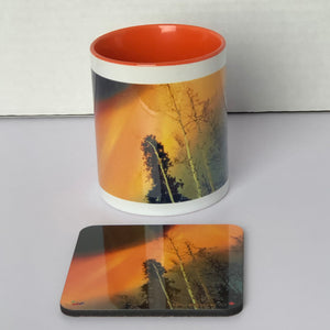 Image of a gift set 11oz Wraparound Mug with a coaster featuring photography by Mila Lansdowne from the Designer Collection Aurora Borealis