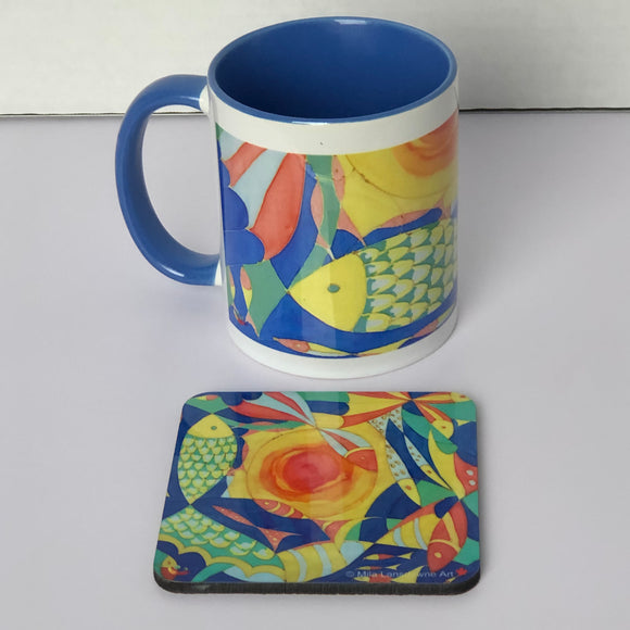 Image of a gift set 11oz Wraparound Mug with a coaster featuring art by Mila Lansdowne from the Designer Collection Ocean of Plenty - Abundance.