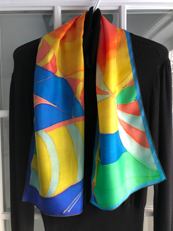 Image of Abundance (on Blue Gradient): 100% SILK - Mila Lansdowne Designer Scarf