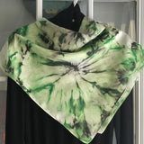 Green Blossoms 1: Hand-painted Original - One of a kind 100% Silk MILA