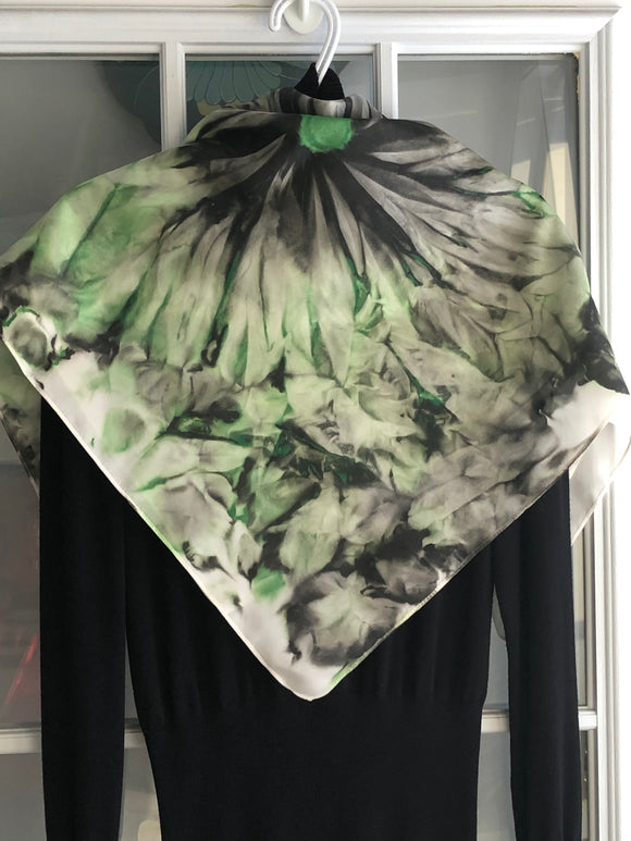 Green Blossoms 2: Hand-painted Original - One of a kind 100% Silk MILA