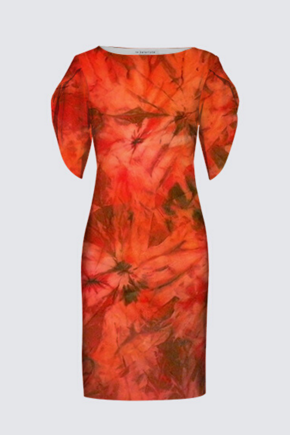 Image of a designer MILA DRESS with 3/4 Tulip Sleeves depicting the original Mila Lansdowne silk painting called