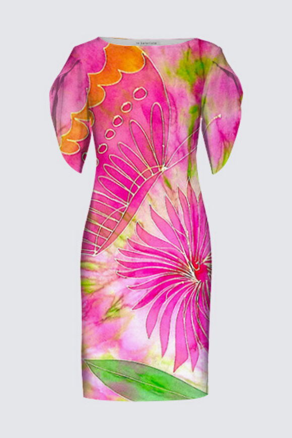 "Image of a designer MILA DRESS with 3/4 Tulip Sleeves depicting the original Mila Lansdowne silk painting called ""Pink Butterly"""