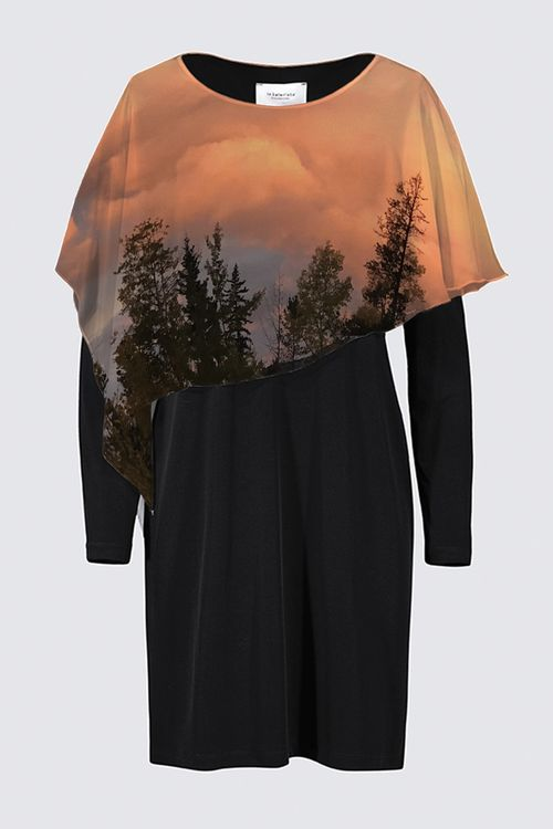 Morning Sky: Black Long-Sleeved Dress with a Designer Chiffon Cape - front view