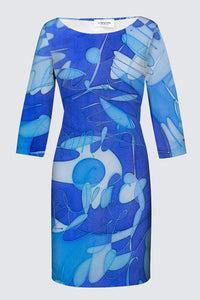 "Image of a fitted designer MILA DRESS with 3/4 Sleeves depicting the original Mila Lansdowne silk painting called ""Peaceful Mind"""