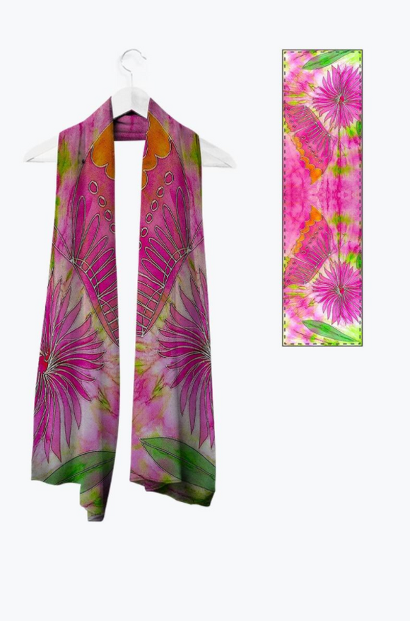 Image of Mila Lansdowne designer scarf from the collection Butterfly & Dahlia.