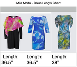 Image of the Dress length chart for MILA MODA women's fashion made in Canada