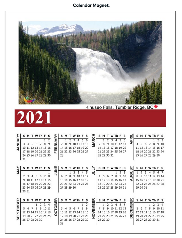 Image of Kinuseo Falls Canadian Northern Beauty - Fridge magnet Calendar 2021