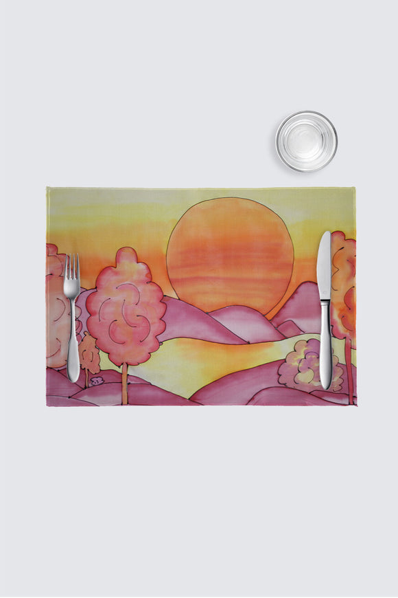 Image of a place mat from Mila Lansdowne designer Home Collection Vibrant Sundown.
