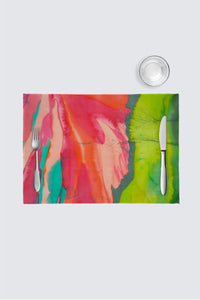 Image of a placemat Aurora Borealis is  a Designer Collection derived from a silk-painting original by Mila Lansdowne