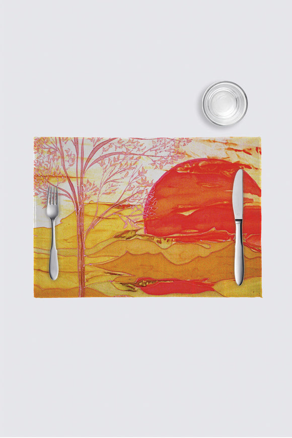 Image of a placemat from Mila Lansdowne Home collection Vibrant Sunset.