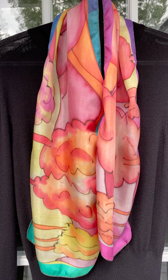 image of Vibrant Sundown on Pink-Azure 100% SILK: Mila Lansdowne Designer Scarf.