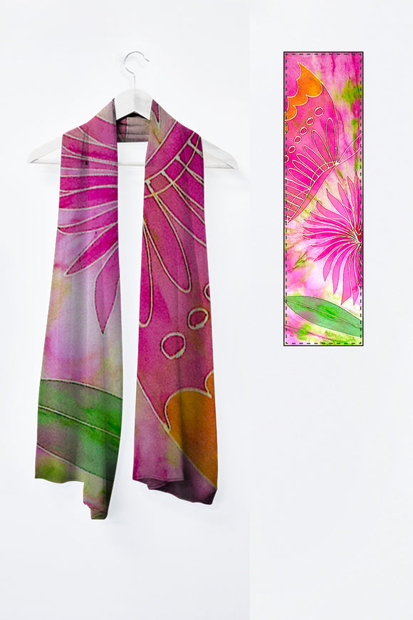 Image of Mila Lansdowne's Designer scarf from the designer collection Pink Butterfly.