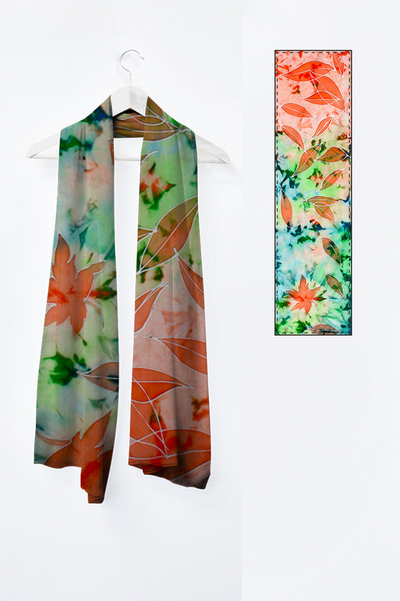 Image of Mila Lansdowne designer scarf from the designer collection In Love with Maple Leaves.