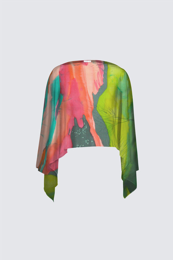 Image of a closed chiffon shawl from Mila Lansdowne Design collection Aurora Borealis.