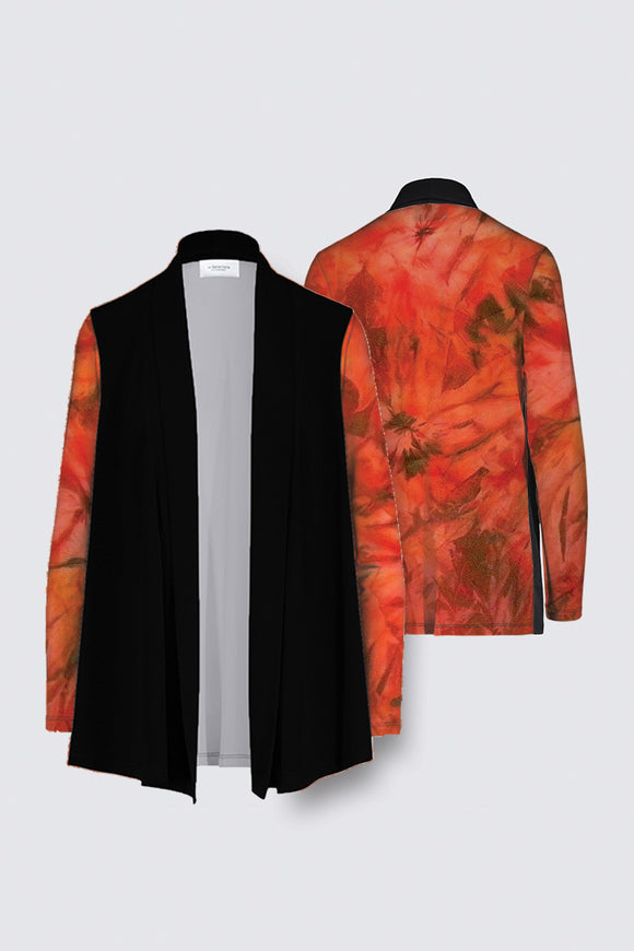 Image of a Mila Lansdowne's Designer Draped open Cardigan from the design collection Garden of Passion.