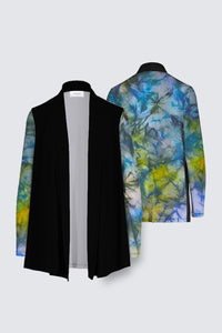 Image of a Mila Lansdowne's Designer Draped open Cardigan from the design collection called Tranquil Garden