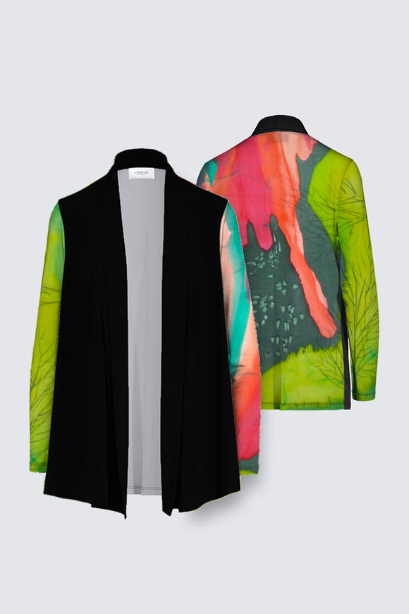 Image of a Mila Lansdowne's Designer Draped open Cardigan from the design collection called Aurora Borealis.