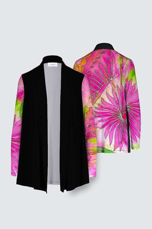 Image of a Mila Lansdowne's Designer Draped open Cardigan from the collection Pink Butterfly & Dahlia.