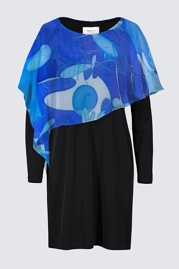 "Image of a designer MILA DRESS in black with long sleeves and colorful chiffon cape depicting the original Mila Lansdowne silk painting called ""Inner Peace"