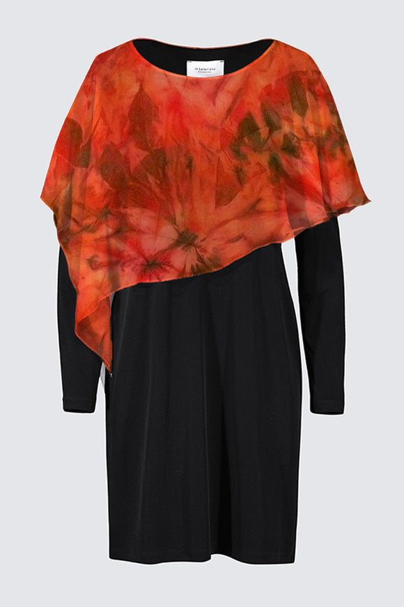 "Image of a designer MILA DRESS in black with long sleeves and colorful chiffon cape depicting the original Mila Lansdowne silk painting called ""Garden of Passion"