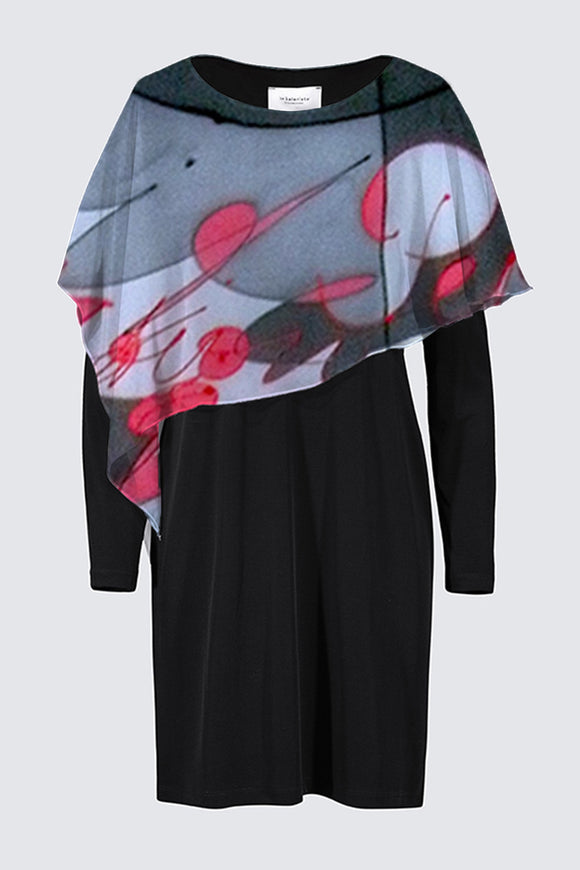 Image of a designer MILA DRESS in black with long sleeves and colorful chiffon cape depicting the original Mila Lansdowne silk painting called The Power Within