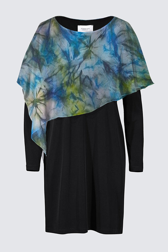 Image of a designer MILA DRESS in black with long sleeves and colorful chiffon cape depicting the original Mila Lansdowne silk painting called Tranquil Garden
