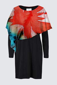 Image of a designer MILA DRESS in black with long sleeves and colorful chiffon cape depicting the original Mila Lansdowne silk painting called  Maple Leaf Power
