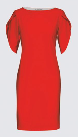 Energy! Red Dress with Tulip Sleeves- Mila Lansdowne design