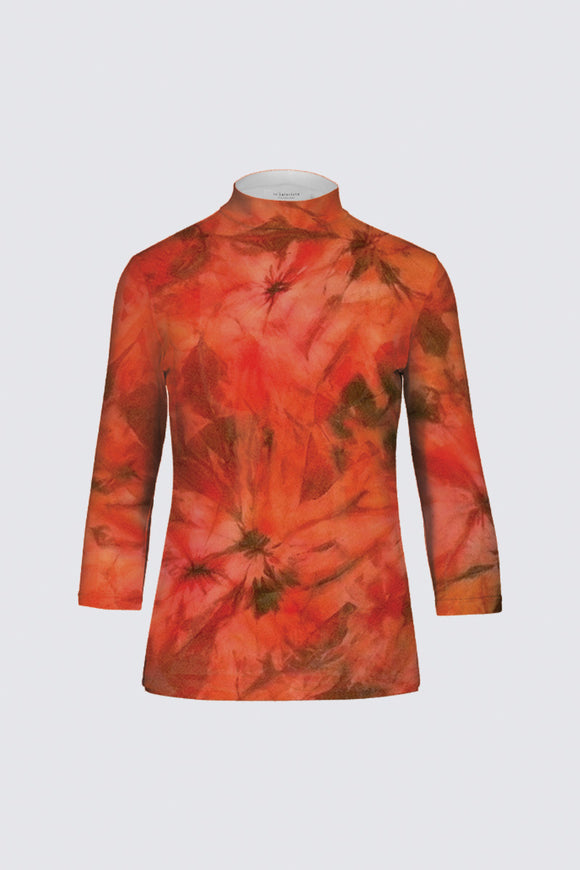 Image of a designer mock neck top Mila Lansdowne collection Garden of Passion