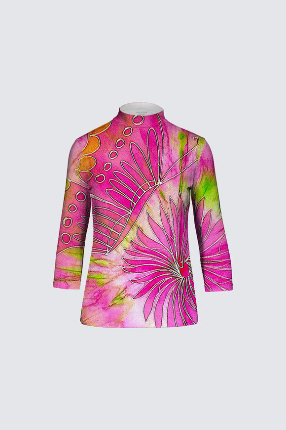 Image of a designer mock neck top Mila Lansdowne collection  Butterfly & Dahlia.