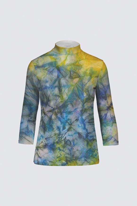 Image of a designer mock neck top Mila Lansdowne collection  Tranquil Garden.