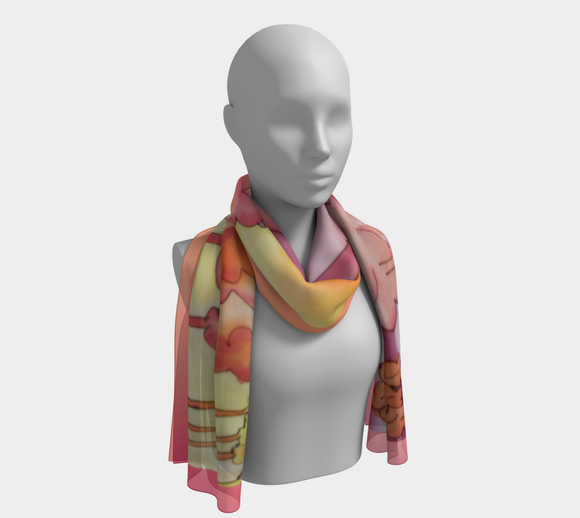Image of Vibrant Sundown (with Apricot): 100% SILK: Mila Lansdowne Designer Scarf.