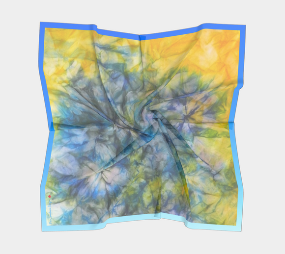 Image of Tranquil Garden - Mila Lansdowne Designer Scarf (version blue-gradient in 12 variants)