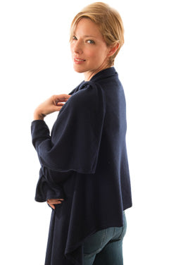 Woman wearing navy cashmere wraps