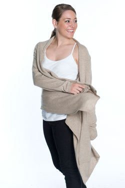 Woman wearing oatmeal cashmere wrap