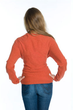 Back view of burnt orange cashmere wrap