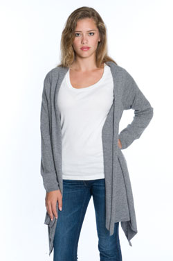 Woman wearing light gray cashmere wrap