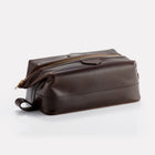 Dark Brown Brooklyn Leather Large Wash Bag Front/Side View