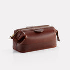 Brown Brooklyn Leather Small Wash Bag Front/Side View