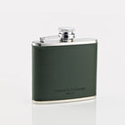 Green Bridle Leather 4oz Hip Flask