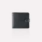 Black Bridle Leather Notecase Wallet with Coin Pocket front View