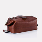 Brown Brooklyn Leather Large Wash Bag Front/Side View