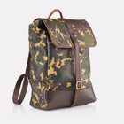 Camo Sherwood Leather Backpack Front View