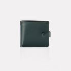 Green Bridle Leather Notecase Wallet with Coin Pocket Front View