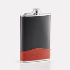 Black Bridle Leather 8oz Hip Flask