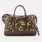 Sherwood Camo Leather Overnight Bag Front View